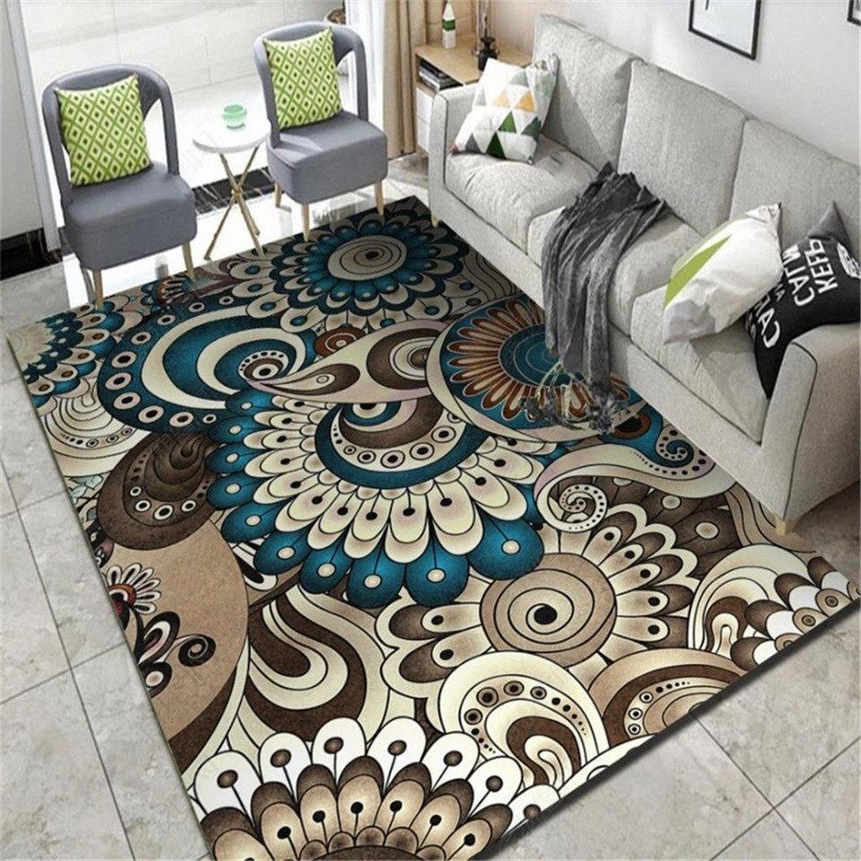 Wishstar Blau Braun Wohnzimmer Teppich Jahrgang Geometrische Muster Rechteck Bohemian Teppich Schlafzimmer Mat Küche Teppich Teppich Korridor TbWL #