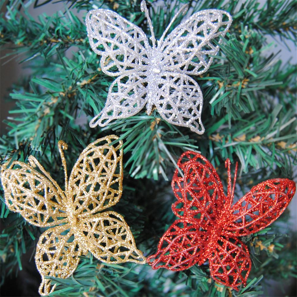 3adet 7cm Shinny DIY El Sanatları Yılbaşı Süsleri Noel ağacı Süsler Noel Kelebekler Glitter 3D Butterfly Ev Dekorasyonu