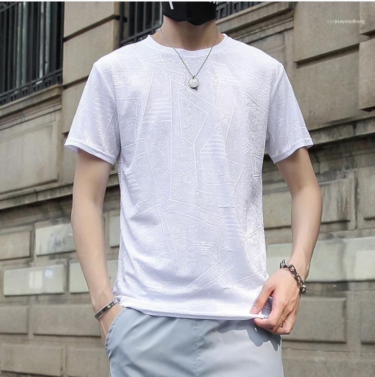 Рукав Новый Ice Шелковый Тис Мужчины Мода дышащий топы Мужские Твердая Жилы Дизайнер Tshirts Summer Man O-образным вырезом с коротким