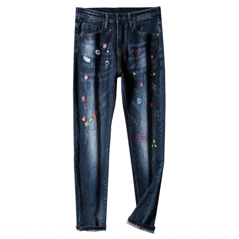 Qkd3j TOmRq mode adolescents d'hiver bleu imprimé hommes tendance de la mode hommes pantalon unique, slim-fit jeans automne et jeans et coréen