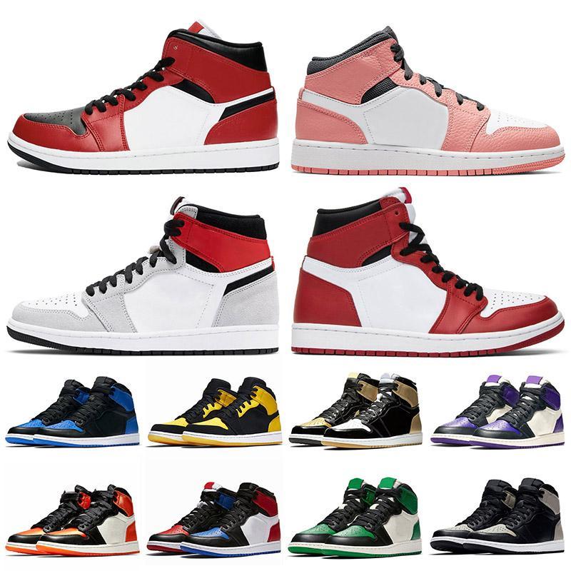 2020 New Jumpman 1 Mid Chicago Noir Toe Rose Haute OG Lumière gris fumée femmes chaussures de basket-ball entraîneurs des hommes de Green Pine Sneake