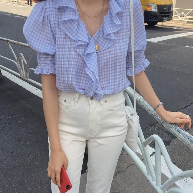 WJRWU üst Fener genç yenilikçi V yaka gevşek ince Üst kol Fener gömlek şık gömlek Kore ekose flounced