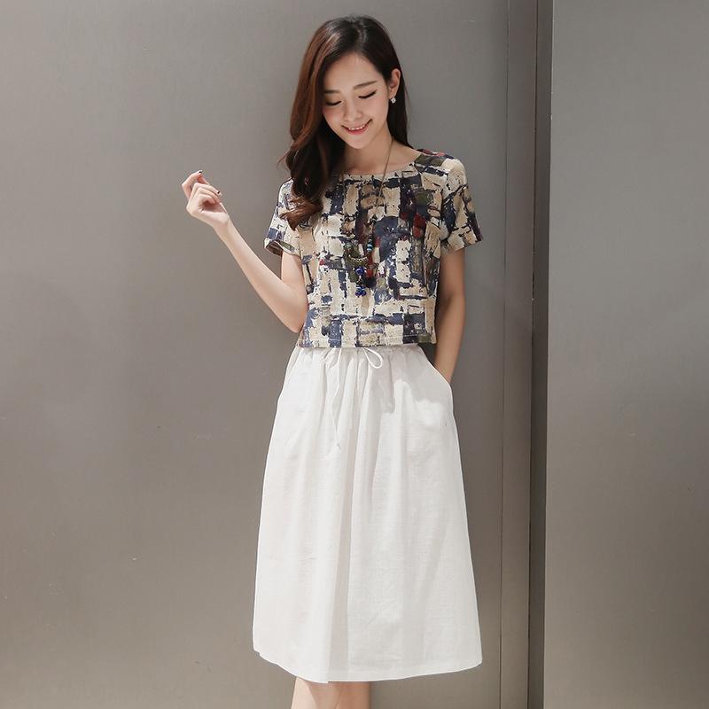 ySMks 2020 Gedruckte Fashion- Linie Anzug Kleid + Kurzarm-T-Shirt mit zweiteiliger Anzug aus Baumwolle und Leinen Kleid Frauen m2K35 Sommer neue Medium-len