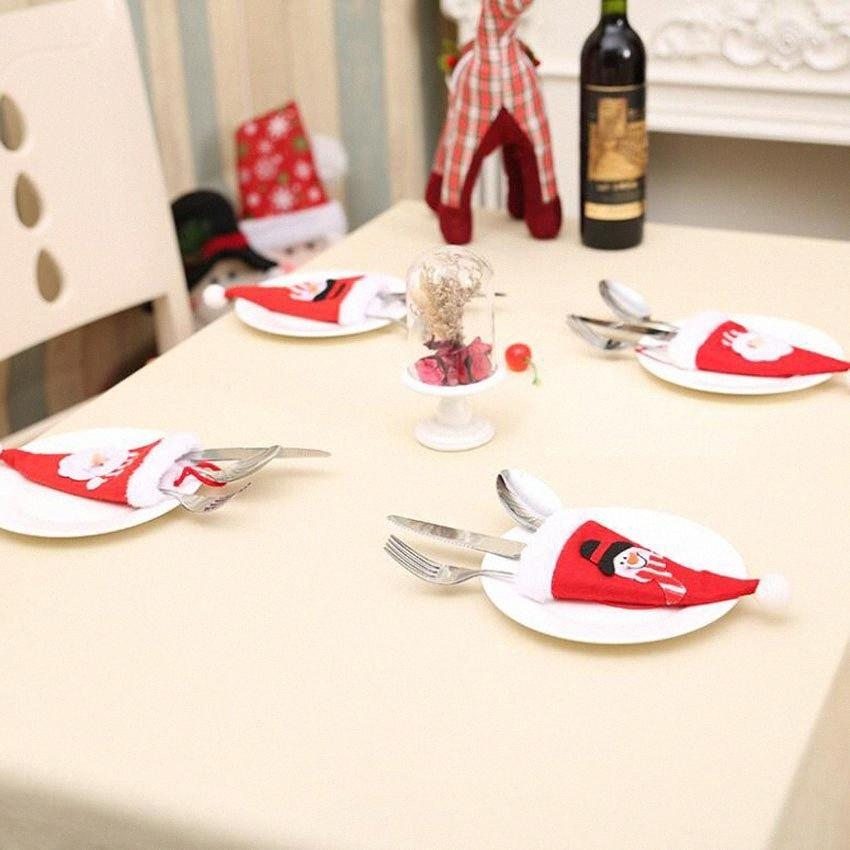 Xmas Party Hat Natal enfeites de mesa chapéus de Papai Noel talheres faca garfo colher Capa Bag Louça Detalhes no Suprimentos DHF65 G78Q #