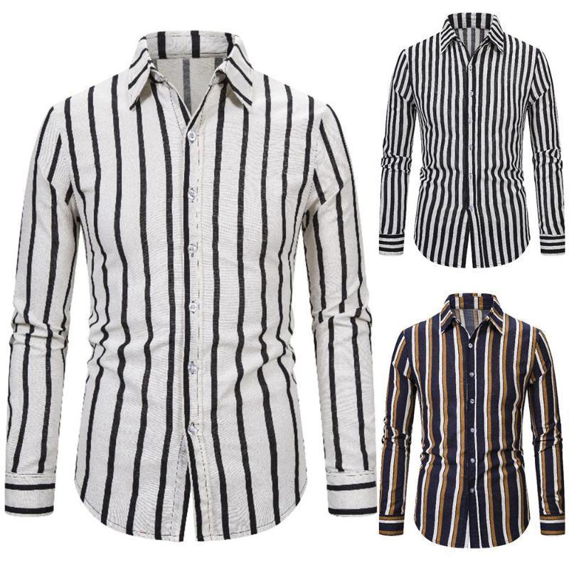 NUEVA moda de manga larga gira el collar abajo rayas verticales botones de la camisa delgada de 2020 caliente todo-fósforo ocasional camisa de los hombres