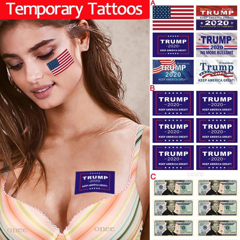 Geçici Dövme Donald Trump Biden 2020 Cumhurbaşkanı Seçimi Yetişkin Çocuk Moda ABD Amerikan Bayrağı Dövme Mürekkep Çıkartma Tasarım Boyama