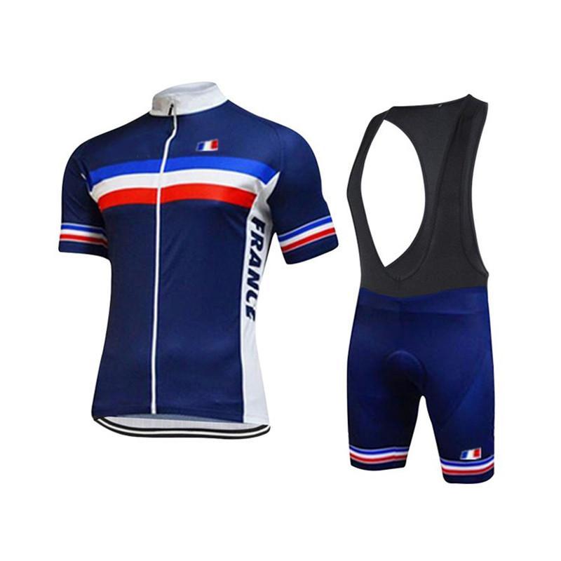 Uniforme Verão França Cycling Team roupa azul Ciclismo Jersey Quick Dry bicicleta Roupa de bicicleta Summer manga curta bicicleta