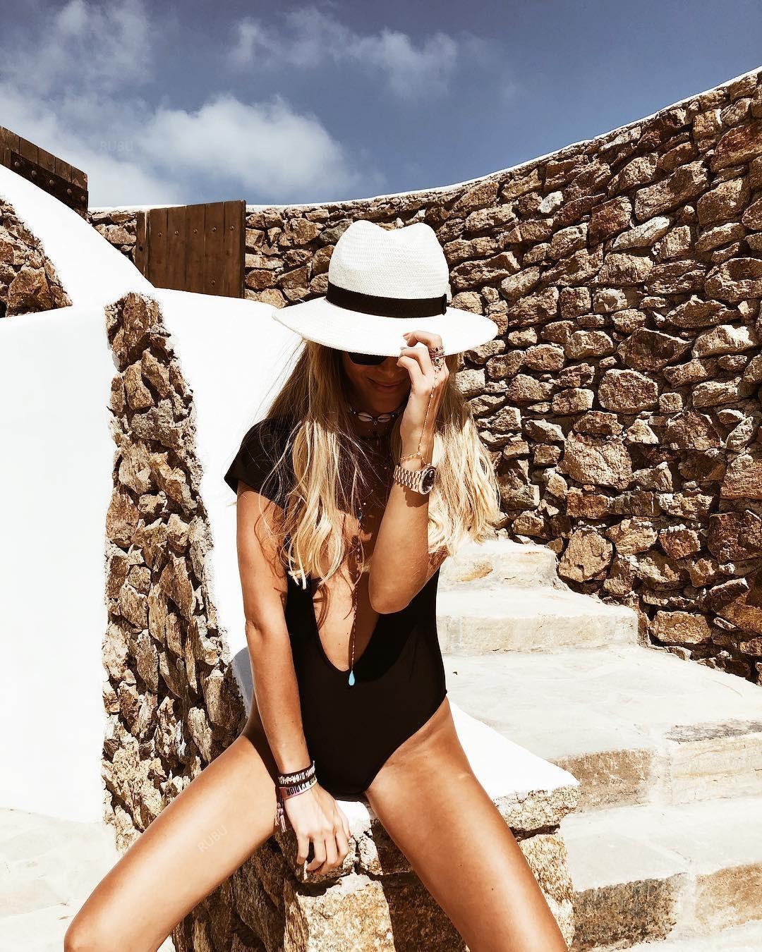 vkF7P 2019 Yeni kısa derin V yaka katı backless kadınların tek parça tek parça mayo kollu seksi renk 9109 mayo