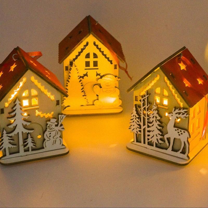 Regalos pequeña casa de madera Decoración de Navidad con luz Mini Casa de Madera Adornos de Navidad brillante árbol de colgantes niños ldfA #