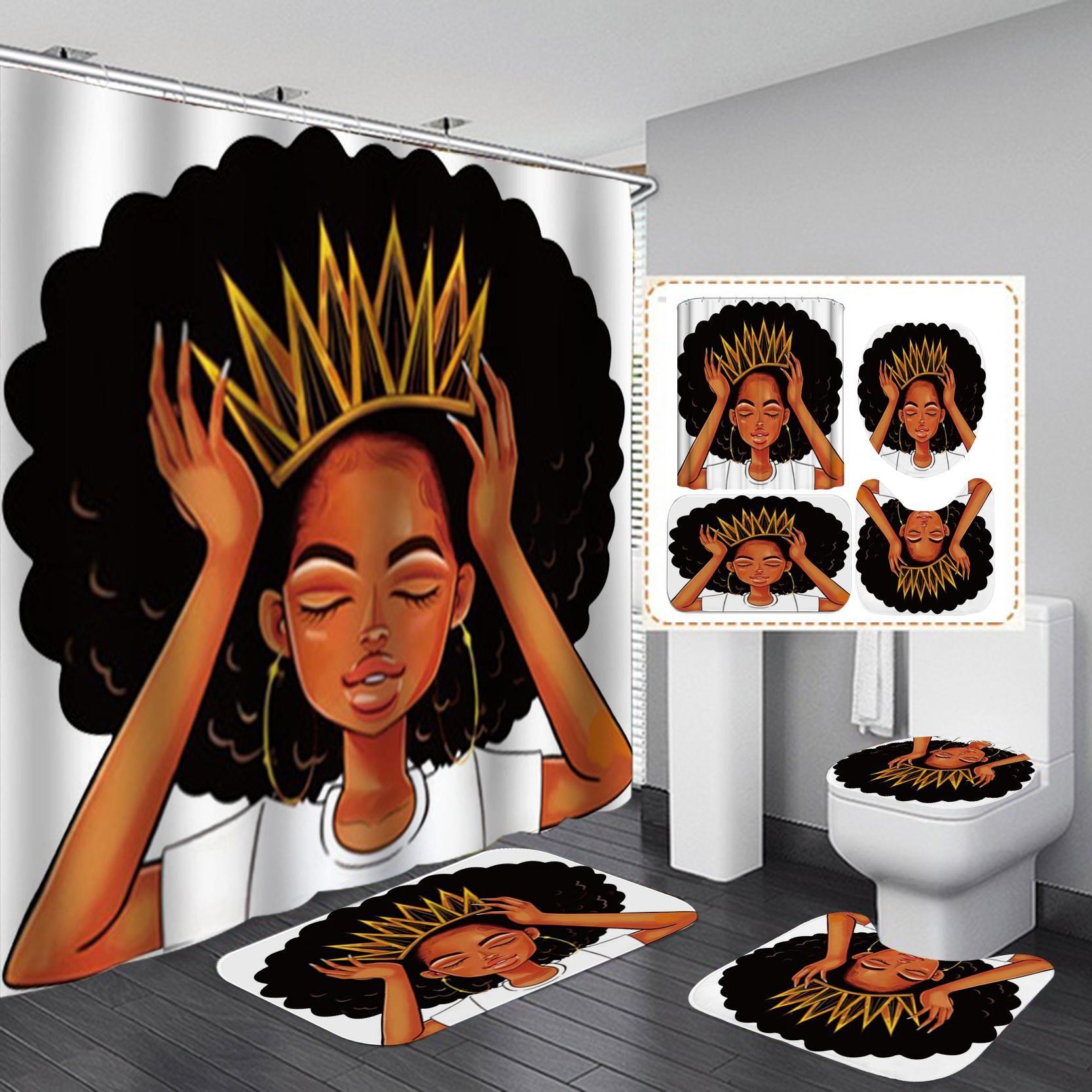 Amerikan kadın taç duş perdesi afro afrika kız kraliçe prenses banyo perdeleri ile kilim klozet kapağı seti