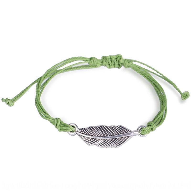 Yeni balmumu dokuma su geçirmez gümüş yaprak bilezik renk dostluğu ayarlanabilir sıcak satış bilezik