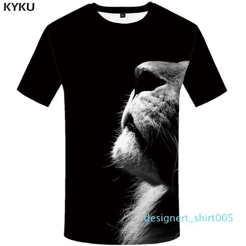 Aslan Tişörtlü Siyah gömlek Hayvan Tişört Giyim Tişört Artı boyutu Erkekler Man Casual Serin Japon Tişört d05