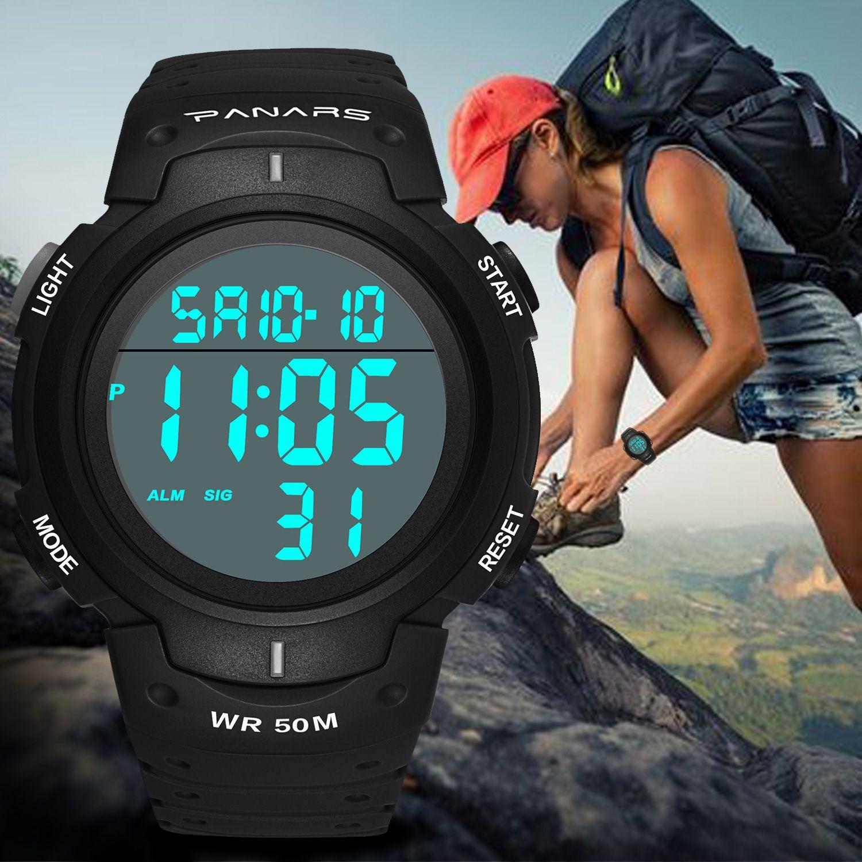 Multifunktionale Bergsport wasserdichte elektronische Uhr Countdown-Uhr leuchtender Alarm Herren-Uhr