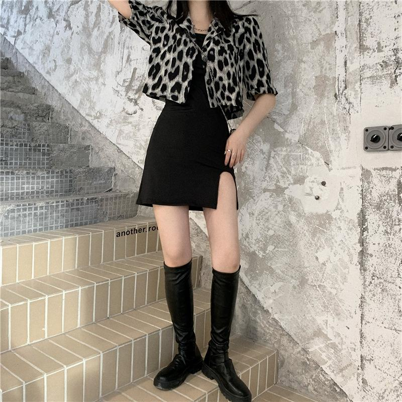 qOA56 t7Tbc -sleeved camisa de leopardo camisa de la manera del juego de las mujeres 2020 del verano de la corto versátil corta traje de pequeños f623a delgada