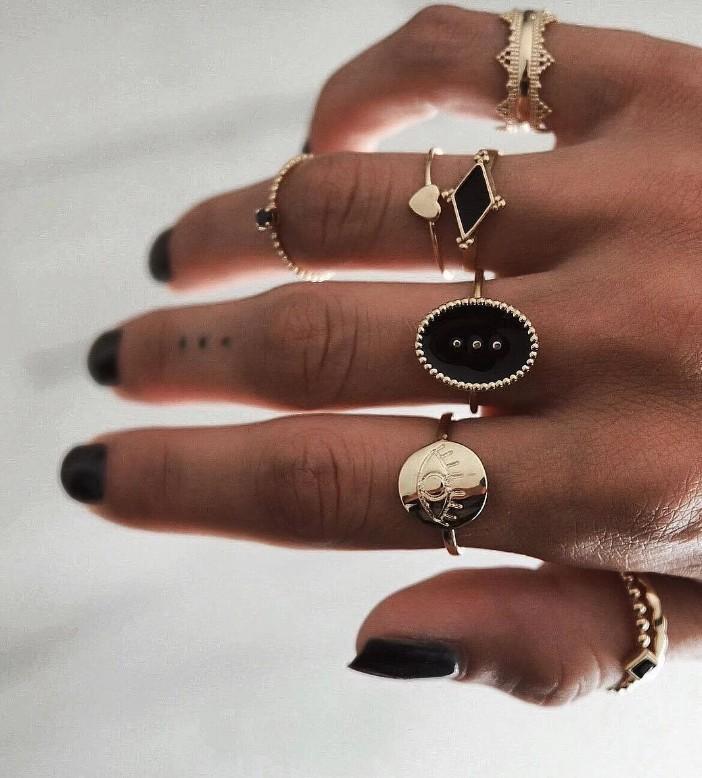 2 البوهيمي خمر الذهب ميدي خاتم فضة المشتركة مجموعة للشباب قصيرة حزب هدية خاتم مجوهرات