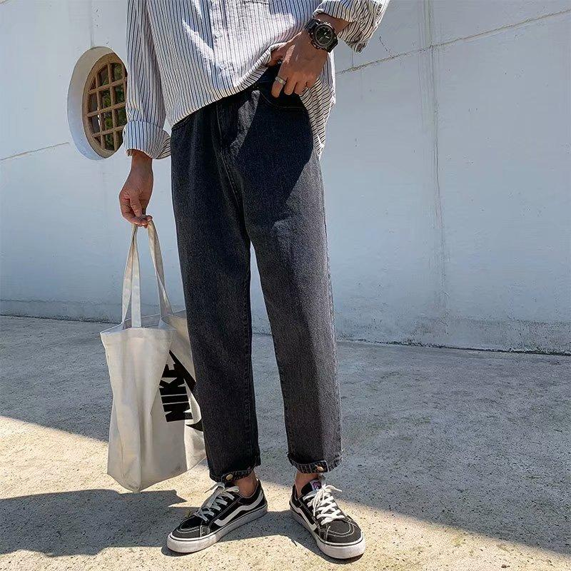 Yaz 2020 Moda Kot gençler Koreli erkekler rahat kırpılmış kot genç öğrencilere geniş bacak düz kırpılmış pantolon gevşek