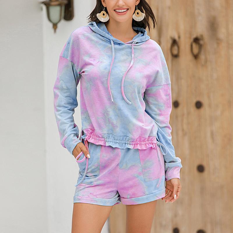 Fashion Women Pajamas Sets Tie-Dye Short Sleeve Pajamas Suit Sleepwear Female Shorts Homewear Trendy Female Tracksuit