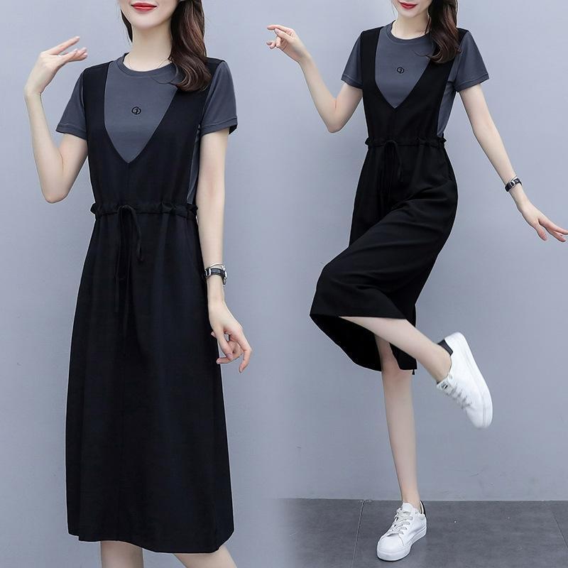 2020 verano nueva mitad de la longitud de adelgazamiento suelta verano ropa de mujer vestido de dos piezas nuevas mujeres de la correa de la falda del vestido ocasional de moda para las mujeres