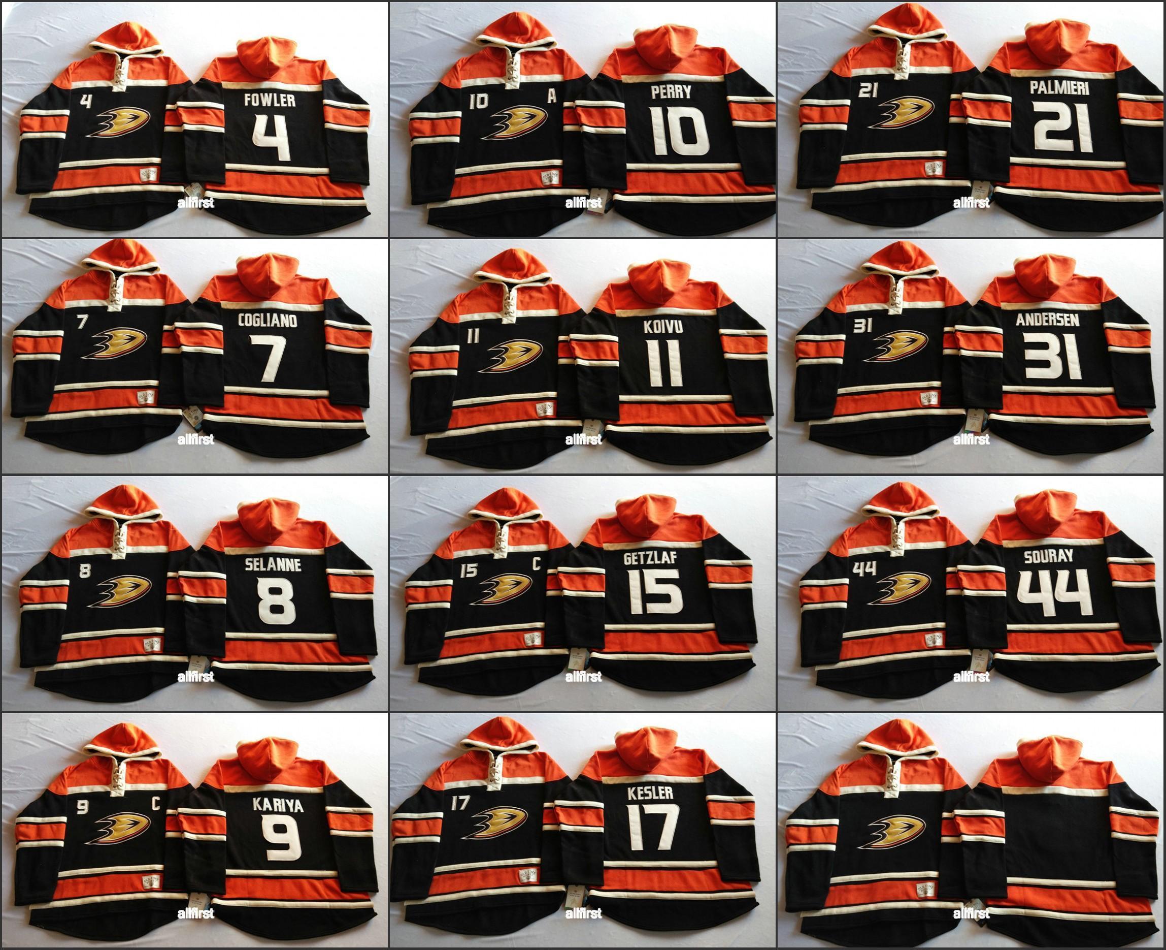 2016 de Hombres Anaheim Ducks sudaderas barato 8 Teemu Selanne 31 Andersen 15 Ryan Getzlaf etc hockey jersey cosido con capucha cualquier nombre #