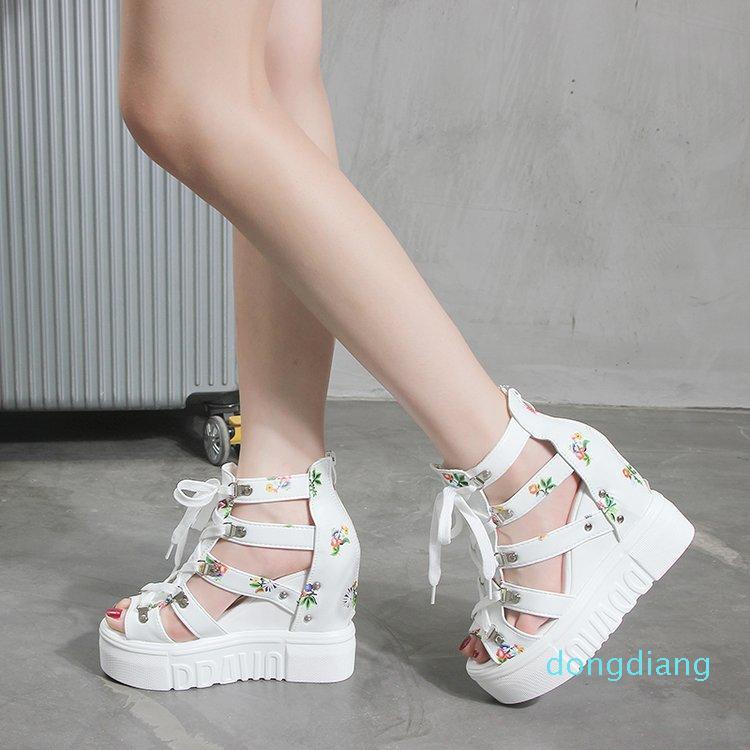 Venta-size34-42 caliente acuña los zapatos para las sandalias de los altos talones de Verano 2020 Chaussures Femme Plataforma sandalias blancas calientes