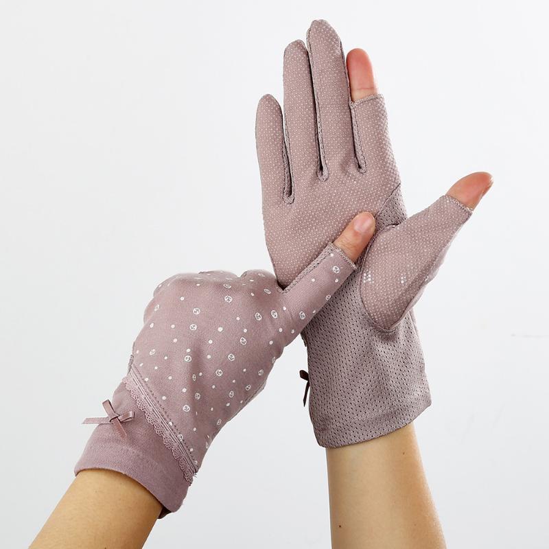 Antideslizante guantes de protección solar de las mujeres de pantalla táctil Prueba Sun manoplas medio dedo manoplas Guante Señora respirable fino no Slip