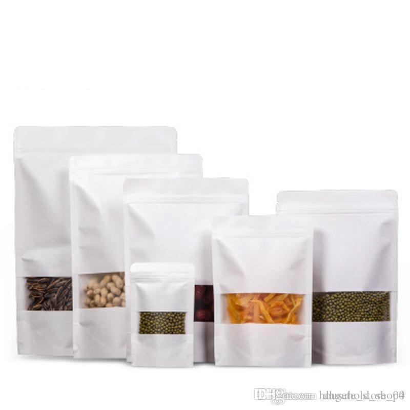 100pcs / lot papier kraft auto sachets d'emballage d'étanchéité de verrouillage Sacs Sac à glissière pour le stockage alimentaire à long terme et à la protection des objets de collection