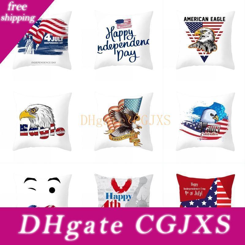4 º de julio de caja de la almohadilla de América Día de la Independencia de almohada Home Office Sofá Cojín bandera americana banda Fundas