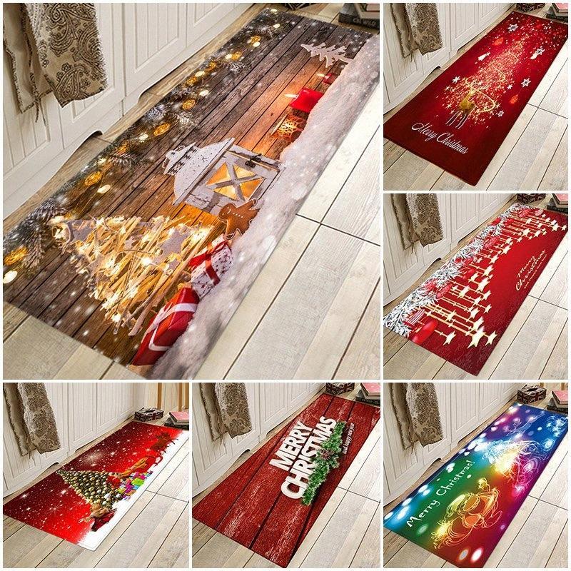 Sisher Weihnachten Mat Lange Bodenmatte Teppich für Wohnzimmer Printed Fußmatte Dekor Küche Badezimmer Antirutsch Teppich Polyester Teppich Carpe KJ4I #