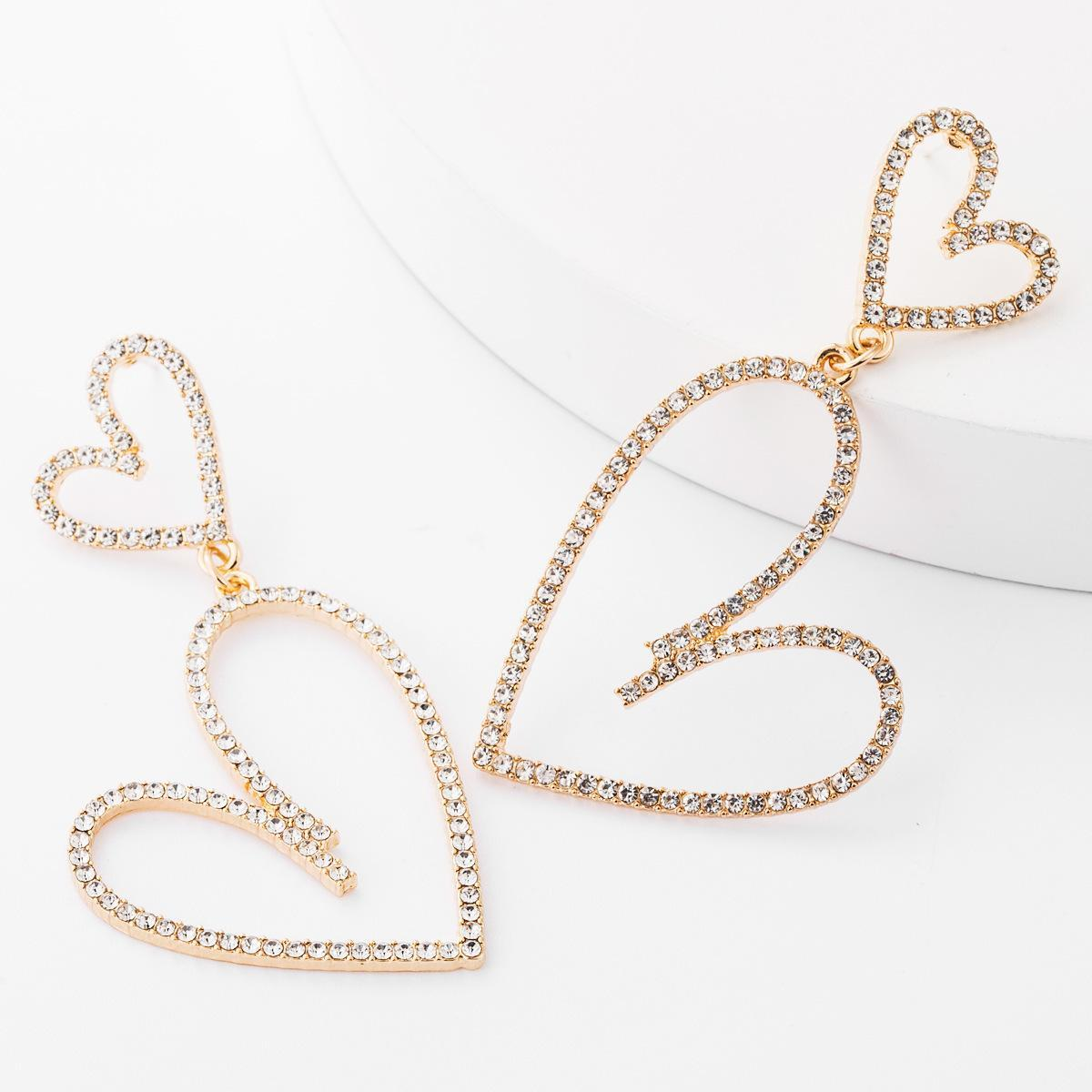 orecchini stile dimensione multi-layer scavato-fuori gli orecchini dolce e bella orecchini di strass a forma di diamante amore ragazze femminili