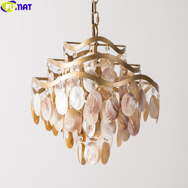 FUMAT Crystal K9 Shell Conch Pendant Lamp Americal Style Chandeliers Hanging Lights Fixture LED Multilayer Home Decor Gold Frame