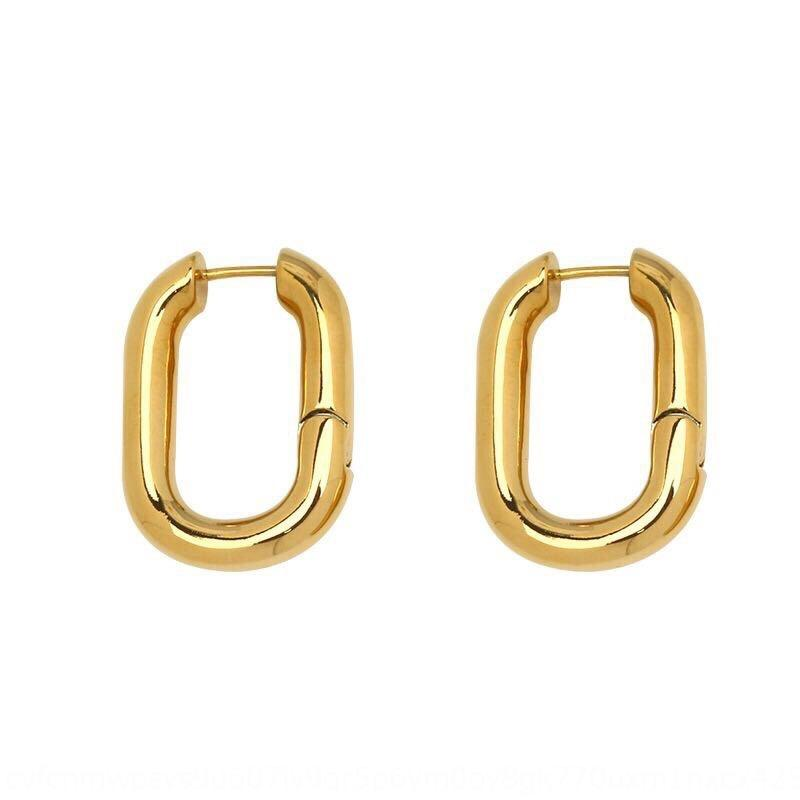 Semplici linee geometriche e orecchini U orecchini ovali ottone metallo earFrench minimalista dell'ago 925