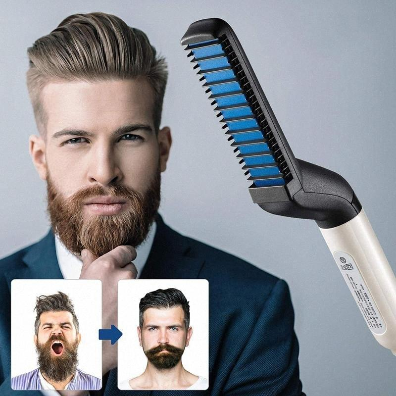 Styling Barba raddrizzatore pettine multifunzionale del bigodino di capelli che raddrizzano Permed Fermacapelli pettine Styler capelli elettrico strumento per gli uomini Superman wp9b #