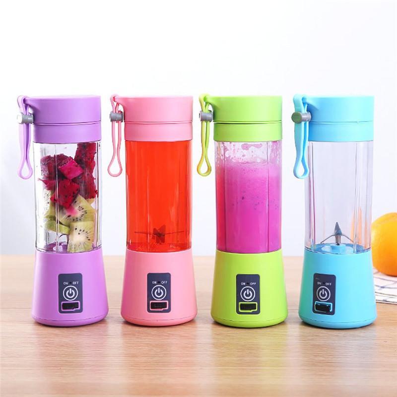 Saftmaschine Portable USB-Saftmaschine 6 Blender Frucht-Gemüse-Personal Blender 400ml Wiederaufladbare Juicer 4 Farben DHA551