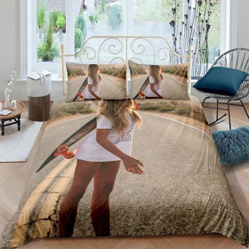 Schönheit Skateboard Bettwäsche-Set Schlafzimmer-Dekor hypoallergen Bettbezug Bettdecken Bettbezug mit Pillowcase Geschenke EZ36 #