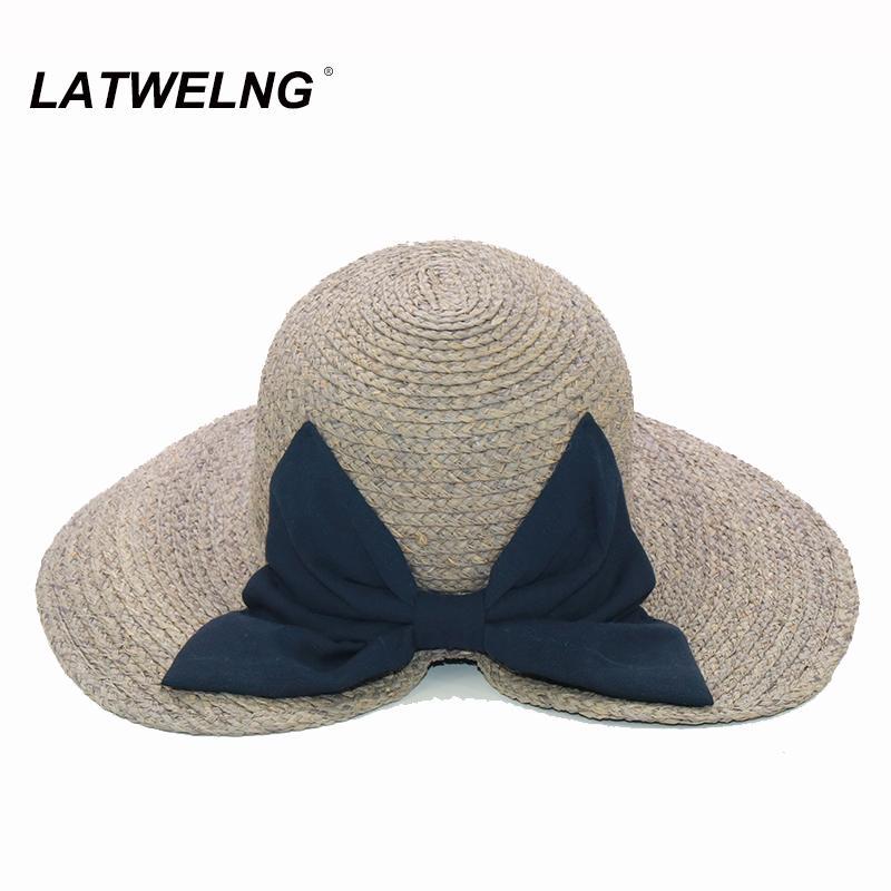 LATWELNG Original design da moda arco de Verão Sun chapéus da praia para mulheres dobrável férias viseira Hat UV Ladies Big Brim Chapéu de Festa