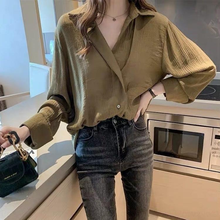 M9BDV с длинным рукавом шифона потерять Корейского стиль Нового дизайна ниша света облегающих рубашек базовую рубашку весной и осенью ЖЕНСКОЙ