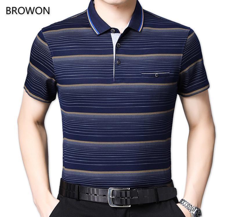 BROWON Mens Fashion Tshirt Men Turn Down Collar Short Sleeve Stripe Design Front Pocket Oversized T Shirt for Male Business T200528