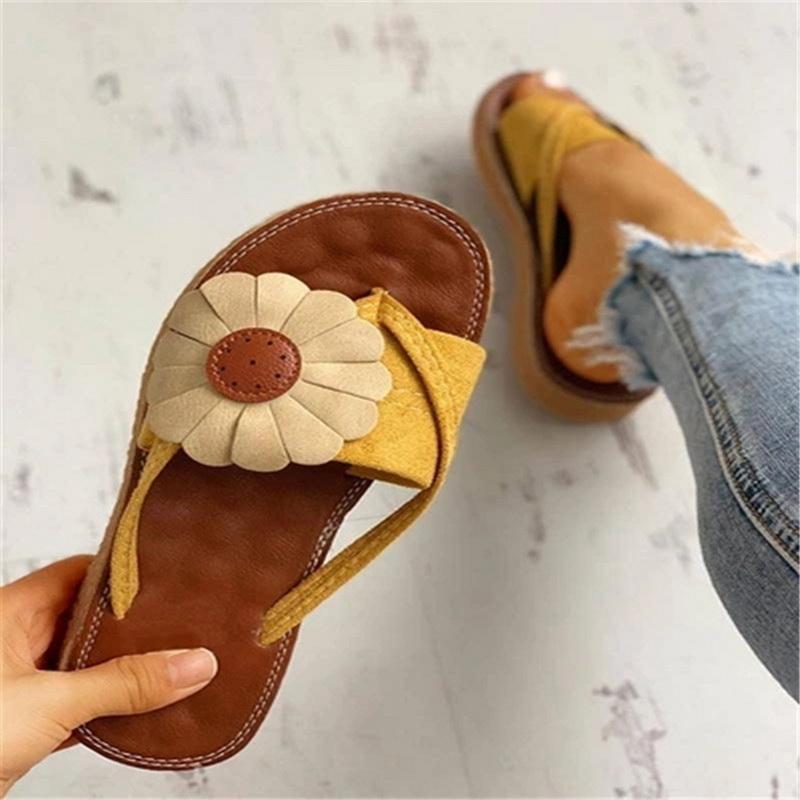 Femmes Chaussures Femmes Flats Chaussons à bout ouvert Tongs plage Chaussons Sun Flower Plus Size Chaussures d'été de banc