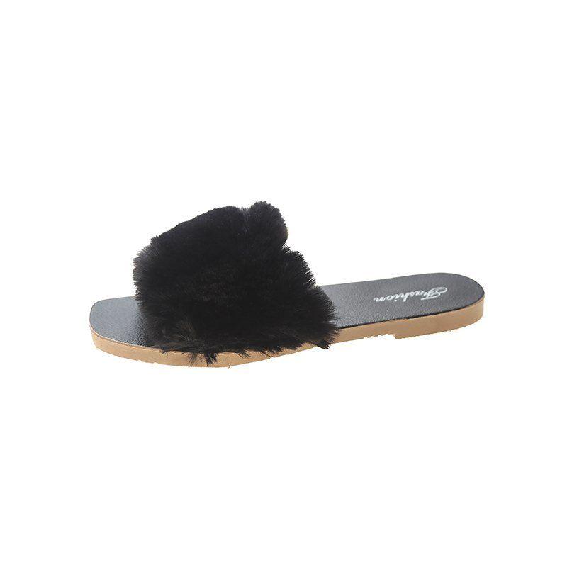 2020--03 pantoufles en laine pantoufles en coton en peluche à l'usure extérieure 2020 automne et coton tête ronde de ménage d'hiver en daim pantoufles chaussures femmes