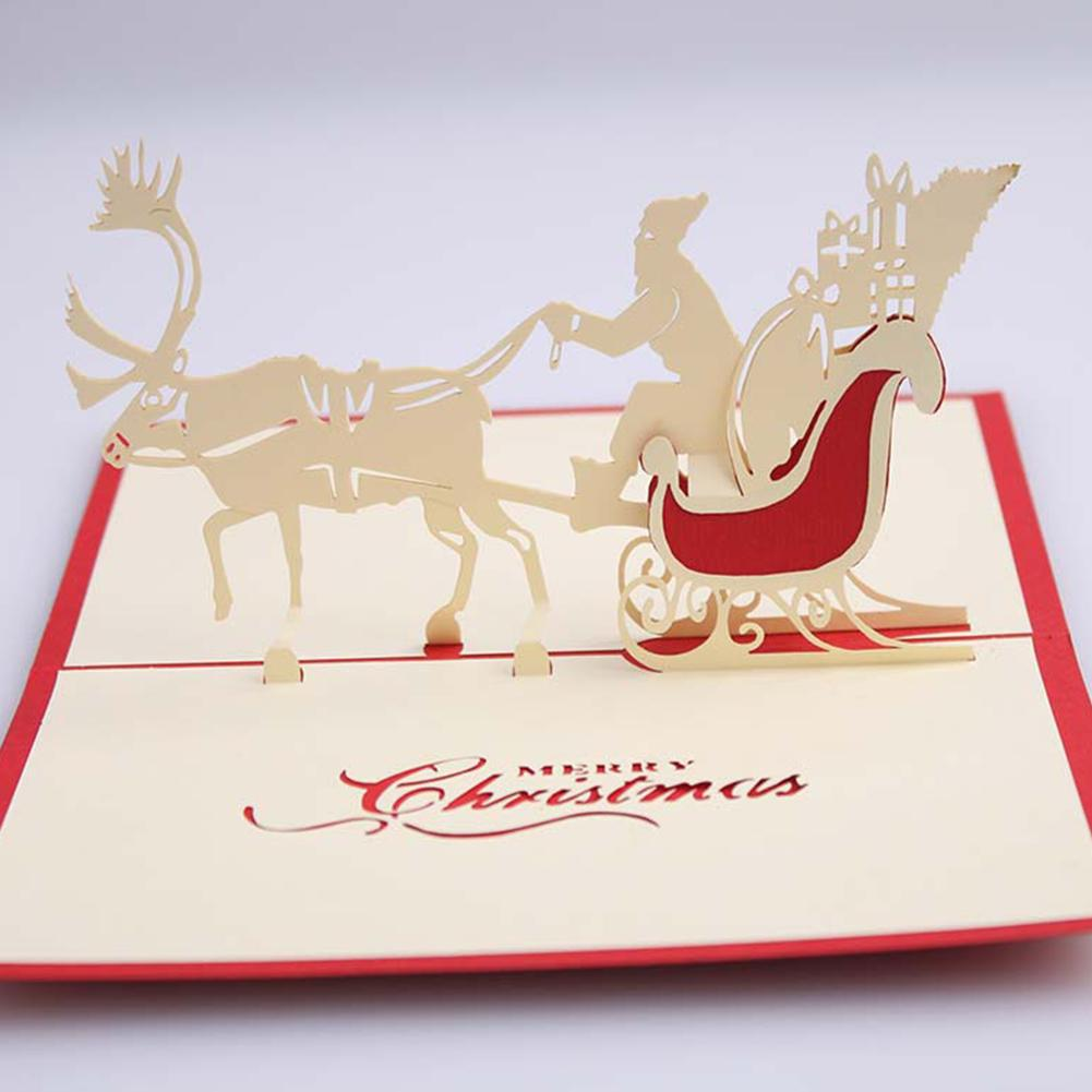 3D Pop Up Santa's Sleigh Greeting Card Merry Christmas Wedding Postcard Gift Craft Paper DIY