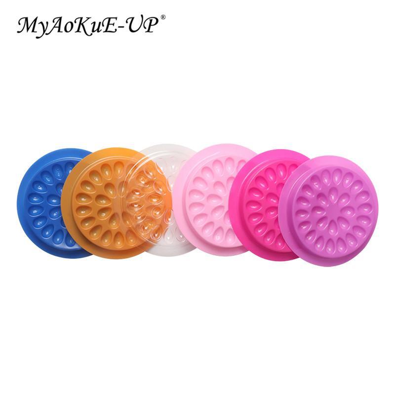 Tek kullanımlık plastik Çiçek Kirpik Tutucu Sticker Tutkal Yapışkan Palet İçin Kirpik Uzatma Makyaj Araçları