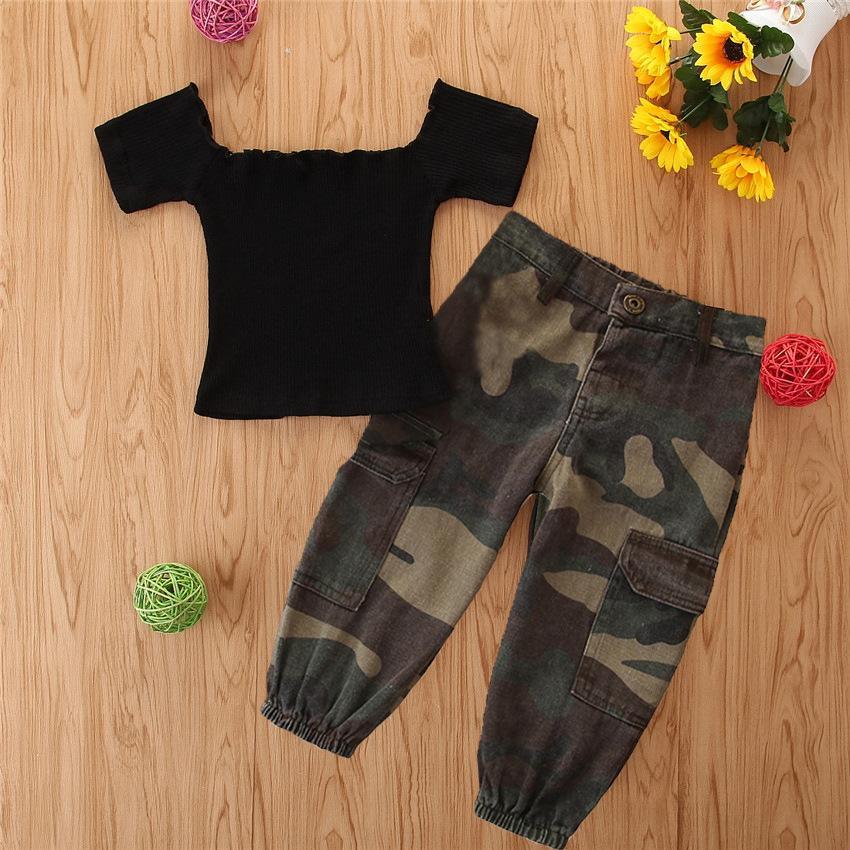 INS bebê crianças camuflagem roupa 2020 crianças verão irritar orvalho ombro manga curta cobre + camuflagem de ferramentas calças 2pcs conjuntos A3980