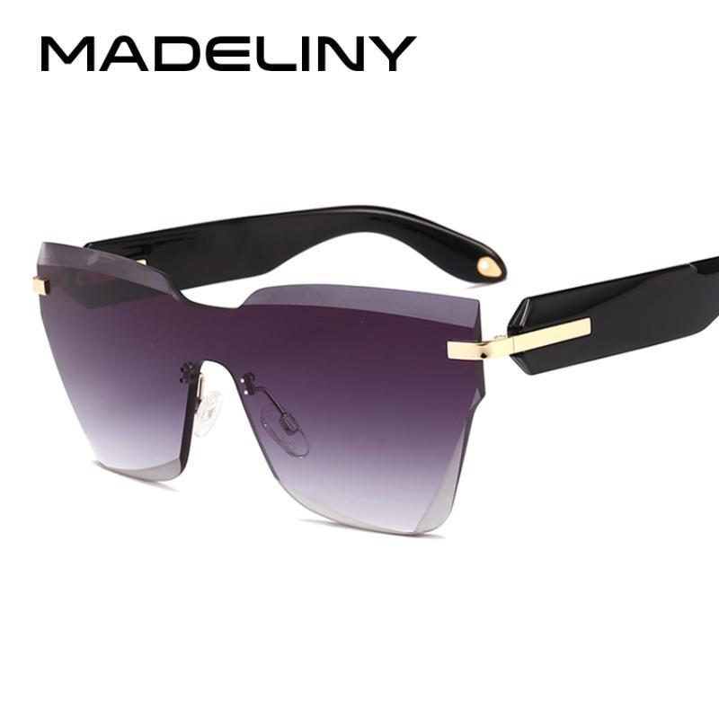 MADELINY Fashion New Rimless Sun Große Brille MA203 Rahmen Vintage Shades Auge Frauen Sonnenbrille Gradient Objektiv 2020 Eyewear Cat WTXII