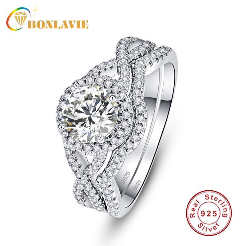 Großhandel Natual handgemachte 925 Sterlingsilber-Ring-Sets Frauen Hochzeit Schmuck-Verpflichtungs-Braut Paare Ring Schwanz