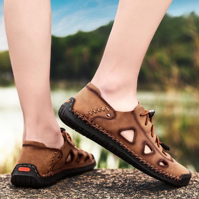 Sandalias Summer Hombres Zapatos de cuero Clásico Roman Slipper Zapatillas al aire libre Playa Flip Flops Zapatillas Hombre