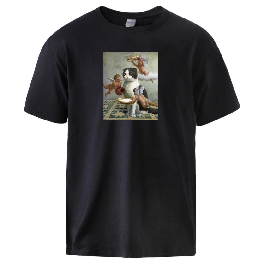 Смешные Cute Cat печать футболка для парня 2020 Людей Марки Лето Сыпучего Fit Streetwear с коротким рукавом 100% хлопок Спортивной одежды Футболки