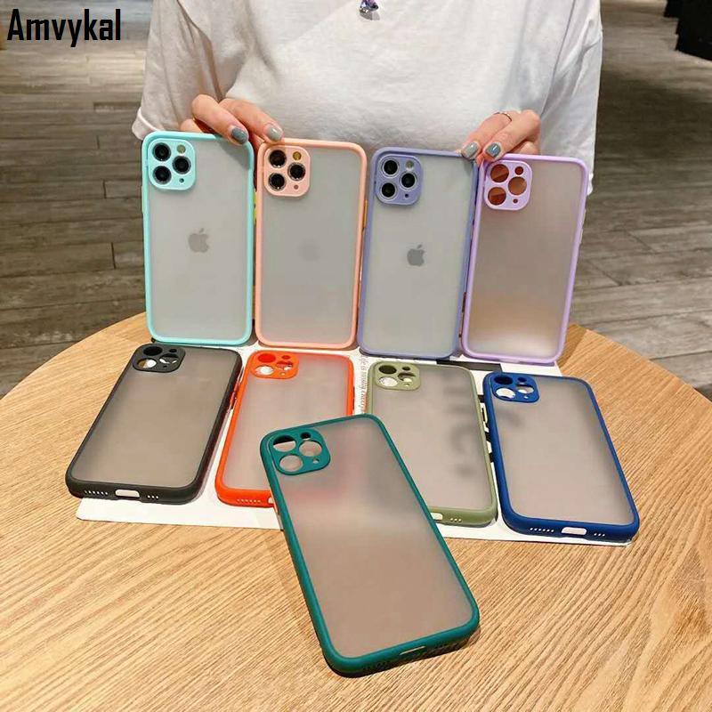 Darbeye Dayanıklı Mat Telefon Kapak iphone 12 Pro Max 12Pro 12mini Durumlarda Lüks Saydam Yumuşak Kılıf iphone SE 2020