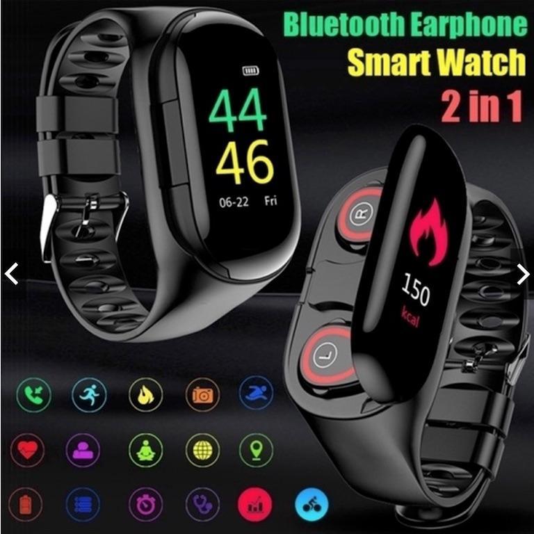 1 Erkek Kadın İzle M1 Bluetooth Smart İzle TWS Çift Kablosuz Kulaklık Kulaklık Spor Tracker 2