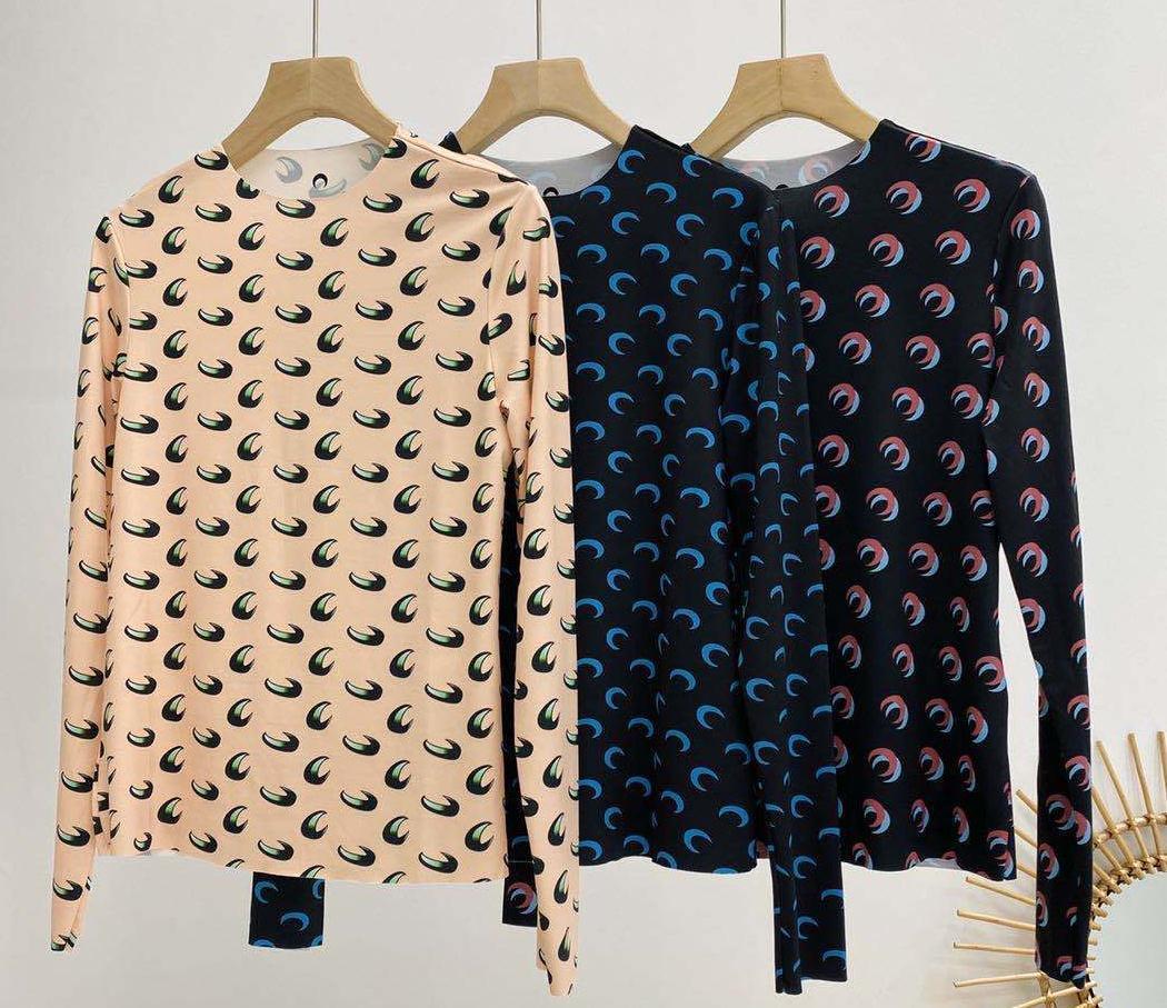 2020SS Loog luva Marinha Serre assentamento T Shirt Mulheres Alta Qualidade sobreposição Meio apertado lua t-shirt Top Tees Marinha menina Serre