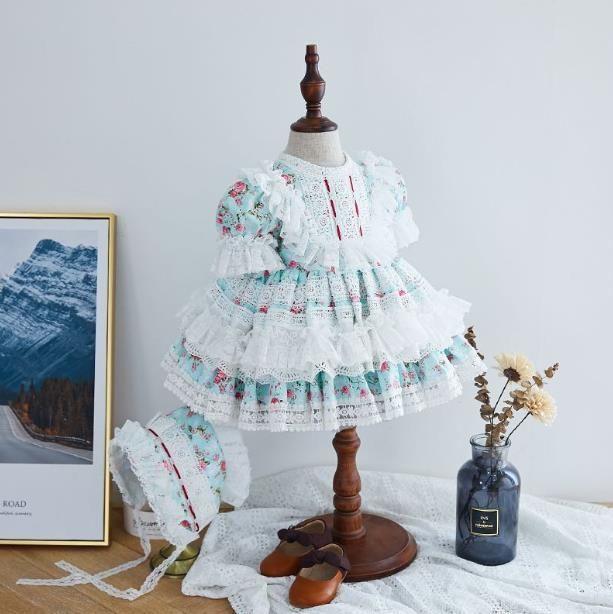 Vestido + pantalones cortos de 2 piezas españolas Lolita niñas princesa del vestido de la impresión del cordón vestido con tutú de vestido de Pascua la fiesta de cumpleaños niña vestidos Y2994 T200709
